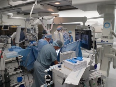 BWH surgeons prepare for the first image-guided Video-Assisted Thoracic Surgery (iVATS) procedure in the AMIGO suite.