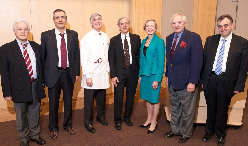 (L to R): George D. Giannoglou, MD, PhD, Aristotle University of Thessaloniki; Dimitrios Tousoulis, MD, PhD, University of Athens; Peter Libby, MD, chief of BWH Cardiovascular Medicine; Peter Stone, MD, director of the BWH Vascular Profiling Research Group; Betsy Nabel, MD, BWH president; George D. Behrakis; Lampros K. Michalis, MD, MRCP, University of Ioannina.