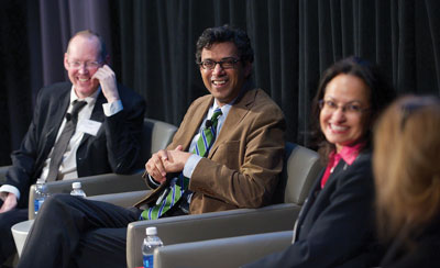 From left: Paul Farmer, Atul Gawande and Nawal Nour speak with WBUR's Robin Young during the Global Health Summit.