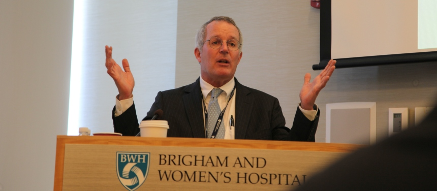 David Bates, MD, MSc, chief, BWH Division of General Internal Medicine and Primary Care, welcomes attendees to the division's first annual Research Day.