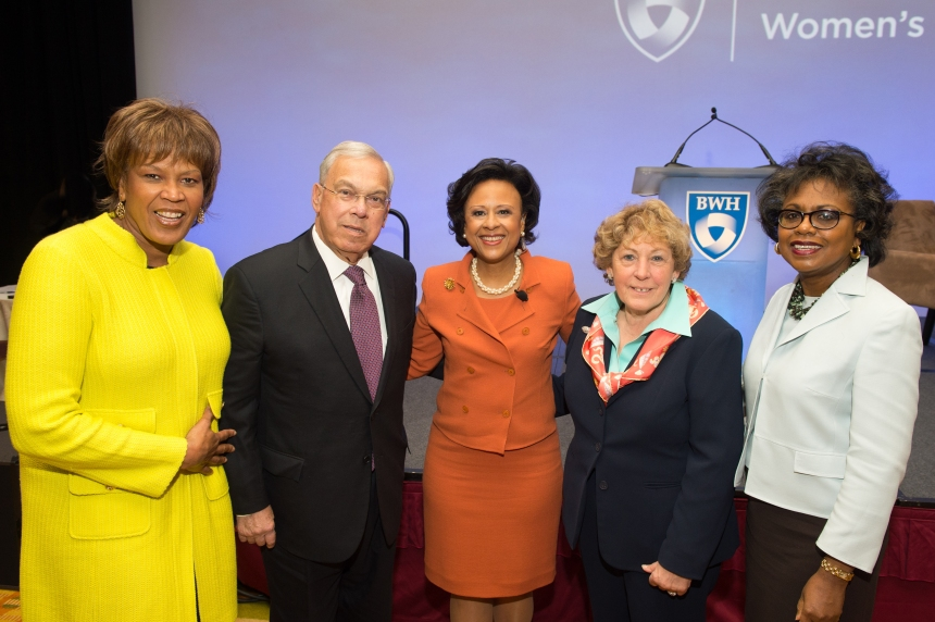 From left: Award-winning television journalist Liz Walker, former Mayor Thomas Menino, Paula Johnson, guest-of-honor Angela Menino and attorney and professor Anita Hill