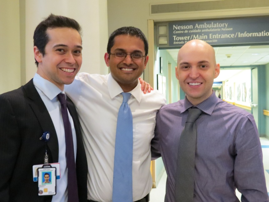 Left to right: Aaron Goldberg, MD, PhD; Kunal Patel, MD, PhD; and Nicholas Short, MD.