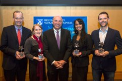 "Winners of the BWH ""Shark Tank"" competition pose with ABC's ""Shark Tank"" personality Kevin O'Leary (center). From left: Benjamin Humphreys, Tracy Young-Pearse, O'Leary, Aditi Hazra and Jeff Karp."