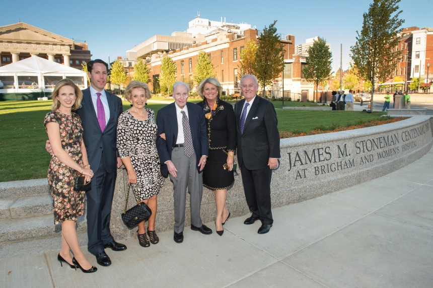 The Stoneman family, including Thea and James (center), gathers in front of the newly opened park, which their generous donation made possible.