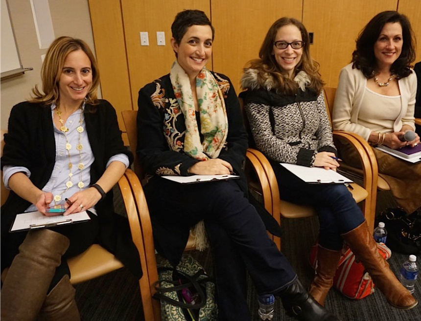 From left: Codeathon judges Lesley Solomon, of the Brigham iHub; Jess Kadar, of Iora Health; Emily Hackel, of McKinsey & Co.; and Gina Vild, of Harvard Medical School