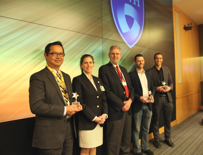 The 2015 winners of the Health & Technology Innovation Fund Pitch Session are (from left) Louis Nguyen, MD, MBA, MPH,  with collaborators Ann DeBord, MD, and Kirby Vosburgh, PhD; Jeffrey Karp, PhD; and Richard Sherwood, PhD.