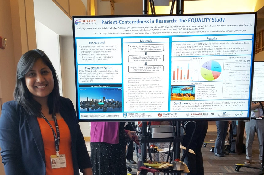 "Anju Ranjit presents her electronic poster on ""Patient Centeredness in Research: The Equality Study"" at an event hosted by Patient Centered Comparative Effectiveness Research Center (PCERC)."