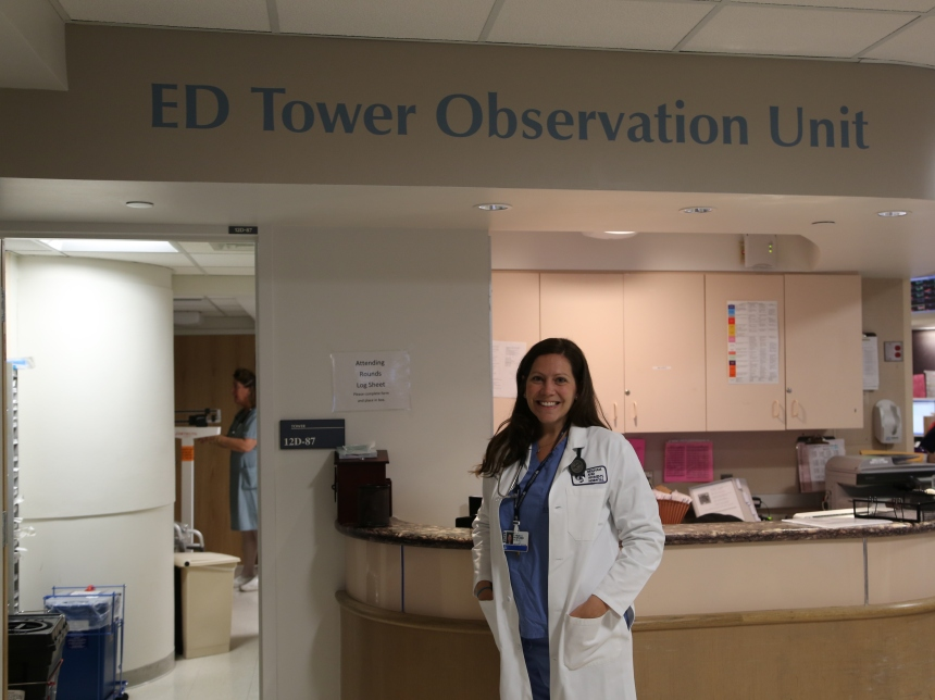 Physician assistant Carla Novaleski, PA-C, works in the BWH Emergency Department Observation Unit on Tower 12.
