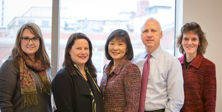 From left to right: Heather Marino, MRCT Center Program Manager; Barbara Bierer, MRCT Center Faculty Co-Director; Rebecca Li, MRCT Center Executive Director; Mark Barnes, MRCT Center Faculty Co-Director; and Carmen Aldinger, MRCT Center Program Manager.
