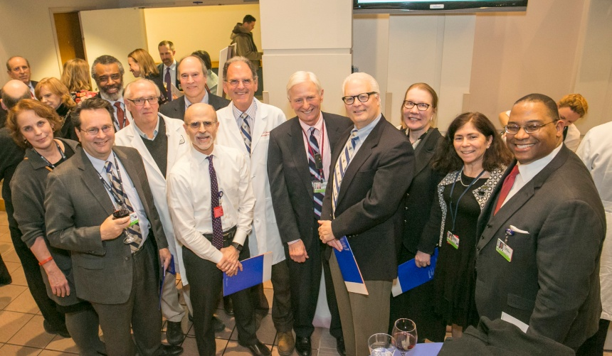 A group of Distinguished Clinician honorees gather after the inaugural ceremony.