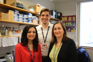 From left to right: Newborn Medicine researchers Zoe Michael, MD;  Hannes Hudalla, MD; and Helen Christou, MD.