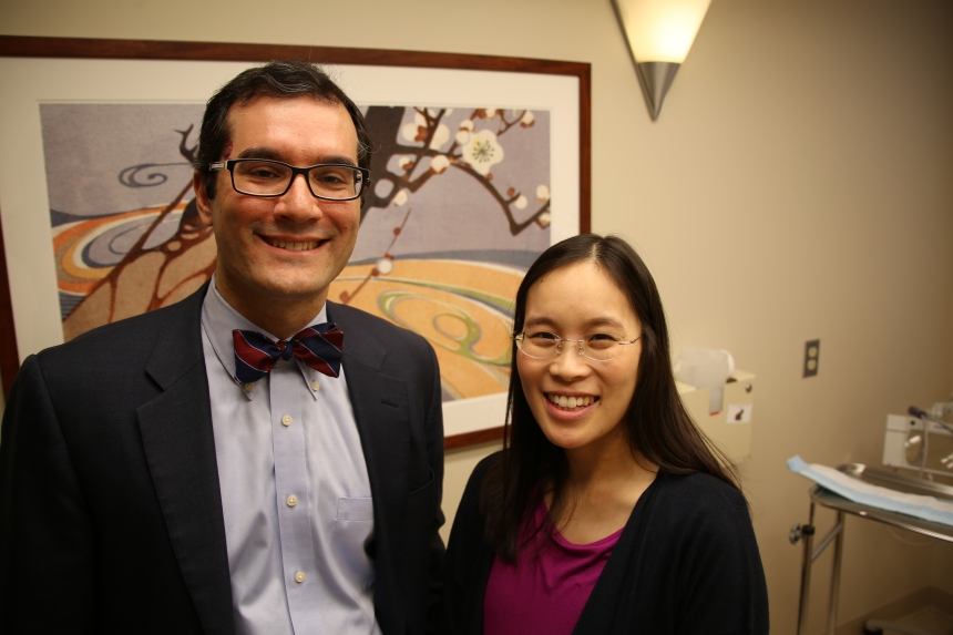 Arash Mostaghimi, MD, left, and Kathie Huang, MD, right, continue to provide guidance to biomedical company Novopyxis—a relationship facilitated the BRI's partnership with MassCONNECT.