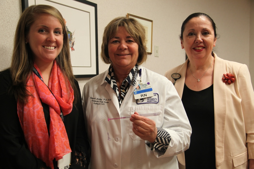 From left to right: Kate Hoffman, RN; Deborah Mulloy, PhD, RN, CNOR; and Jackie Somerville, PhD, RN, FAAN