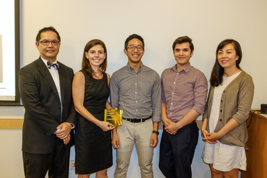Louis Nguyen, MD, MBA, MPH and Rebecca Scully, MD represented the BWH team that competed for the grand prize at the Partners Connected Health Innovation Challenge event held in August. From left to right: Louis Nguyen (BWH), Rebecca Scully (BWH), Kevin Chang (PCH), Gabriel Martinez-Santibanez (PCH), and Shiyi Zan (PCH). (not pictured: Ann DeBord Smith and Dan McDuff)