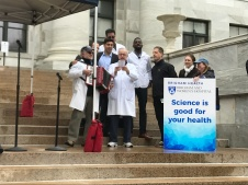 "BWH leadership join in singing ""Stand Up for Science"""