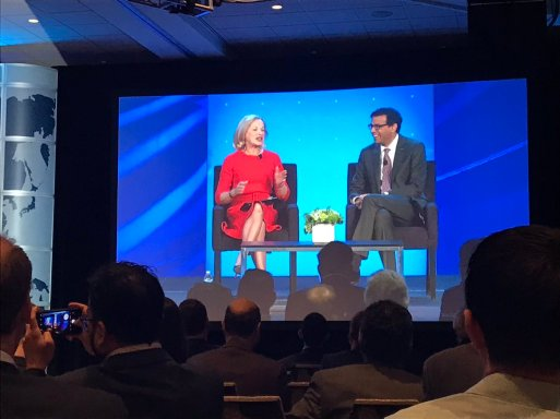 Brigham Health President Betsy Nabel, MD, led a fireside chat with Atul Gawande, MD, executive director of Ariadne Labs.